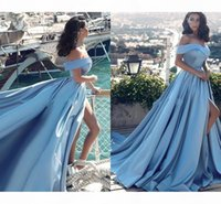 New Sexy Sky Blue Formal Evening Dresses A Line Off Shoulder Side Split Prom Dresses Satin Long Vestido Special Occasion Gowns Arabic 2019