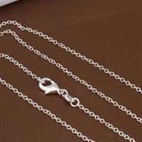 2mm Link Zincirleri 925 Ayar Gümüş Takı Moda Kadınlar Adam Erkekler DIY Rolo O Zincir Kolye Aksesuarları Istakoz Klipsleri ile Fit Kolye 24 inç
