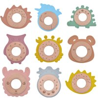 Wooden Silicone Teether Ring Food Grade Silicone Animal Bear Crab Llama Wood Chewing Ring Baby Health Oral Care Children's Products