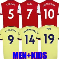 Smith Rowe Futebol Jerseys Gunners 21 22 Sambi Pepe Saka Thomas Willian Nicolas Tavares 2021 2022 Camisa de Futebol Homens + Kit Kids Home Goalkeeper Ls Mulheres