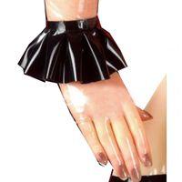 Sissy Maid Metallic Long Dress Bold Sleeve Laser Crossdresser Plus Size Unisex Pieghettato con grembiule Cosplay femmina Cosplay Cinque fingers Guanti