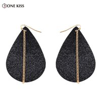 Dangle & Chandelier 2021 Leaf Feather Earrings For Women Bohemia Ethnic PU Leather Gold Chain Water Drop Earring Jewelry Gift Wholesale