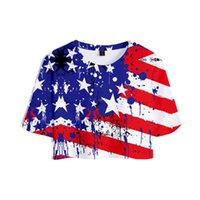 Women's T-Shirt American Clothing Independence Day 3D Printed Women Crop Tops Fashion Summer Short Sleeve T-shirts 2021 Girls Tshirts