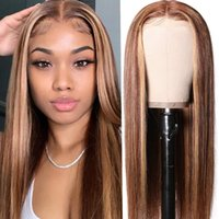 Lace Wigs 250% Density Long Straight Blonde Highlight Colored Front Human Hair Pre Plucked For Women 13x6 Brazilian