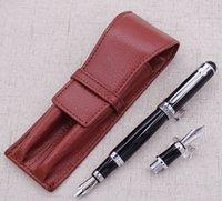 Dük D2 Siyah Orta NIB Dolma Kalem 1 Adet Kaligrafi Kaba Bent Nib Bir Deri Kalem Kutusu Çanta Değiştirilebilir Hediye Seti