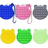 Fidget Toy Rainbow Silicone Foam Push Bubble Toys Cartoon Gadget Key Ring Squeeze Sensory Cute Bag Pendant DHL Ship