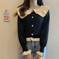 Knits Woman Sweaters Cardigan Knitwear Autumn and Winter Women's Doll Collar Outer Wear Gas Loose Long Sleeve Top