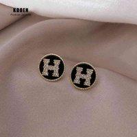 Yutong Light Luxury Zircon H Письмо Моделирование Золотой Круг Серьги для Женщины 2020 Новая Мода Корейский Ювелирные Изделия Девушка Партии Сексуальная