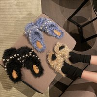 Slippers Brand Designer 2021 Winter String Bead Soft Warm Hair Flat Slip-on Loafers Fur Slides Mules Flip Flops