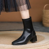 Black thick square head French fried Street short women's summer middle heel versatile thin elastic boots