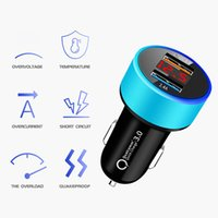 Dual USB 3.1 QC3.0 Fast Charging Digital Display LED Car Chargers 5V 2.4A 2USB Ports Aluminum Universal 18W Power Adapter Charger