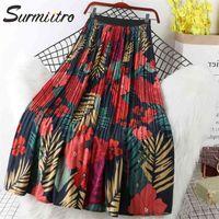 Surmiitro Çiçek Baskı Şifon Maxi Etek Kadınlar Ile Yüksek Bel İlkbahar Yaz Bayanlar Kırmızı Siyah Uzun Pileli Etek Bayan 210408