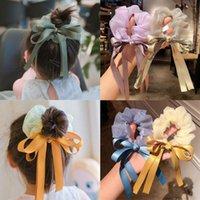 Hair Accessories Satin Silk Bowknot Scruchies Girls Kids Ponytail Holder Elastic Organza Bands Ties 2021 Trend