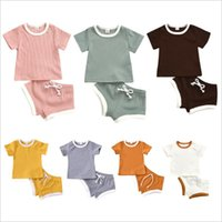 Baby projeta conjuntos de roupas infantis meninas sólidas tops shorts outfits liso listrado manga curta t - shirts calças se adapta às crianças roupas de verão boutique 16color