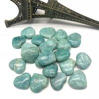 Dekoratif Nesneleri Figürinler 8-11PC Doğal Kuvars Mavi Opal El Zımpara Sky Nehri Amazonit Taş Kalp Şifa Büyücüsü Kristal