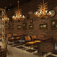 Chandeliers American Antler Chandelier Retro Industrial Restaurant Cafe Art Decoration European Vintage Resin Loft Hanging Lamp