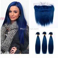 Peruvian 3 Bundles With Lace Frontal Blue Color Peruvian Silky Straight Hair 3 Bundles With 13*4 Lace Frontal Ear To Ear Free Part
