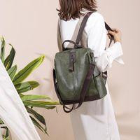 Backpack 2021 Women's Fashion Soft Leather Travel Anti-theft Bag Retro Ladies Multifunctional