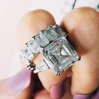 Bagues de cluster Moonso Sterling Silver 925 pour femme 2 CT 2-PC Princesse Coupé Engagement de mariage Bijoux Bijoux Ensemble R5702
