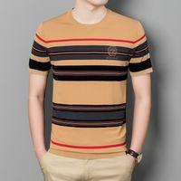 Мужские футболки летом круглые шеи полоса вязаные с коротким рукавом ледяной шелк молодой и среднего возраста половина тенденции