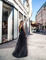 Deep V-Neck Black Tulle Lace Prom Guest Dress Formal Illusion Long Sleeve Cocktail Evening Dresses