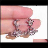 Encantador brillante zircon zircon luna estrella uvo elegante colgante pendientes para mujer niñas moda lujoso plata poste O6U2X W0NSD