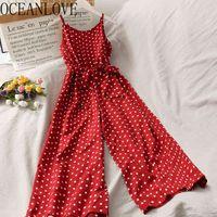 OceanLove Dot Bandge Bow Femmes Brooms 2020 Été Vacances Jumpsuit Moyenne Moyenne Coréenne Ropa Mujer Sexy Backless 17210