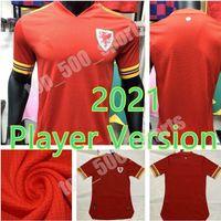 2021 플레이어 버전 유럽 컵 웨일즈 축구 유니폼 21 22 홈 레드 알렌 베일 램지 셔츠 국립 팀 제임스 남자 축구 유니폼