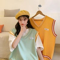 Women's Vests 2021 Spring Clothing Korean V-neck Vest Versatile Chic Lazy Wind Loose Show Thin Sleeveless Sweater Fashion