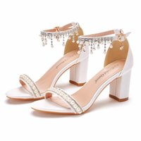 Dress Shoes Thick Heel Shallow Mouth With Sandals Round Head Beaded Tassel High White Pearl Bride Wedding Shoes.