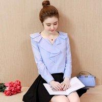 Осенние женские рубашки рубашки с полным рукавом Свободные тонкие базовые блузки рубашка белый синий 1808 женские блузки