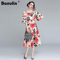 Banulina 2021 verão moda pista boho vestido mulheres fora ombro espaguete cintura elástica cintura floral impressão elegante festa casual vestidos