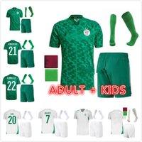 성인 어린이 키트 2021 알제리 Maillot de Football 축구 유니폼 2 스타 홈 화이트 Mahrez Bounedjah Bouazza 20/21 알제리 남성 유니폼