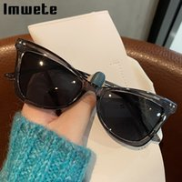 Imwete 2021 Cat Eye Sunglasses Women Luxury Black Green Sun Glasses Retro Gradient Shades Colored Eyeglasses Female UV400