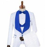 Men's Suits & Blazers Handsome 3 Piece Men White Jacquard Groom Tuxedos Royal Blue Shawl Lapel Groomsmen Wedding Man (Jacket+Pant+Vest+Bow)