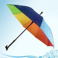 2 in 1 Crutch Umbrella Climbing Hiking Walking Stick Umbrellas With Long Handle Outdoor Windproof Anti-UV Rain Sun Bumbershoot BH4780 TQQ