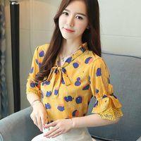 Women's Blouses & Shirts Korean Chiffon Women Floral Shirt Tops Plus Size Woman Lace Flare Sleeve Blouse Blusas Mujer De Moda Womens