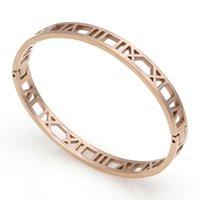 Gümüş Paslanmaz Çelik Kelepçe Roma Bilezik Takı Moda Gül Altın Bilezik Kadınlar Için Bilezikler Aşk BraceleTetMM
