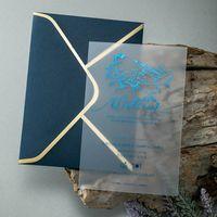Elegante königliche mattierte transluzente Acryl-Hochzeits-Einladungskarten mit Umschlägen für Verlobungsgeburtstags-Einladungen, anpassbare Begrüßung