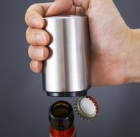 430 Stainless Steel Bottle Opener Push Down Automatic Beer Openers Customized Laser Logo Supported Kitchen Tool