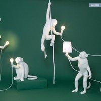 Zemin lambaları postmodern endüstriyel beyaz maymun lamba reçine aydınlatma çocuk odası siyah ışıklar duvar asılı armatür ev dekor