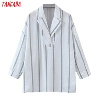 Women's Blouses & Shirts Tangada Women Retro Oversized Striped Print Blouse Long Sleeve Chic Female Casual Loose Shirt Blusas Femininas SL11