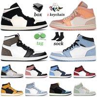 nike air jordan retro 1 off white Kutusu 2021 Basketbol Ayakkabıları Ile Univeristy Mavi Yüksek Karanlık Mocha Beyaz Jumpman Erkek Kadın Hiper Kraliyet Eğitmenler Sneakers