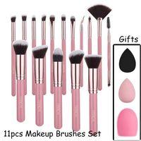 11 Pcs set Makeup Brushes Sets Eyeshadow Blending Eyeliner Eyelash Eyebrow Make Up Beauty Brush Kit With Powder Puff and Brushegg