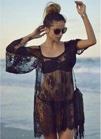 frauen sommer strand spitze häkeln kleid sehen durch schwarze weiße o-necksuspender kleider kleidung für urlaub