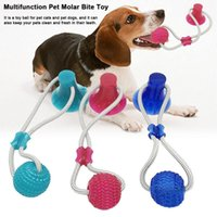 Dog Biting Rubber Toy Pet Molar Bite Chew Balls Chew Ball Cleaning Teeth Safe Elasticity Soft Dental Care Suction Cup Balls BH2840 TQQ