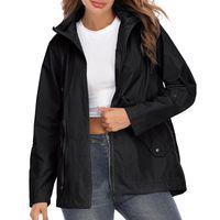 Women's Jackets 2021 Waterproof Hooded Drawstring Waist Mesh Lined Rain Coat Fashion Slim Outdoor Hiking Travel Parka