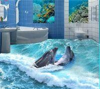 Costume Piso Mural 3D Estereoscópico Oceano Seawater Quarto Banheiro Papel de parede PVC PVC impermeável Auto-aderência Murais Papel de parede 684 v2