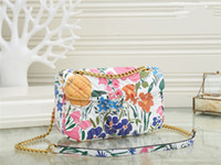 High Quality Fashion women Shoulder bag Pu leather gold chain Crossbody Messenger Flower embroidery Female handbag