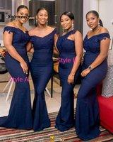 Bridesmaid Dress Navy Blue Long Dresses 2021 V Neck Off The Shoulder Applique Lace Wedding Party Gowns Women Plus Size
